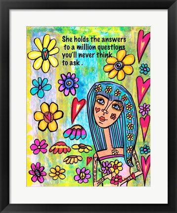 Framed Girl With Answers Print