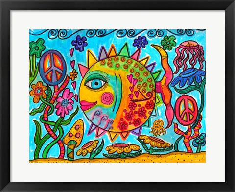 Framed Hippie Puffer Fish Print