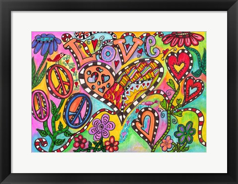 Framed Love And Peace Print