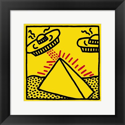Framed Untitled, 1984 (pyramid with UFOs) Print