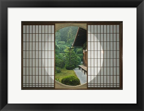 Framed Tea House Window, Sesshuji Temple, Kyoto, Japan Print