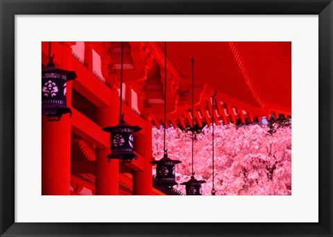 Framed Heian Shrine in Spring, Shinto, Kyoto, Japan Print