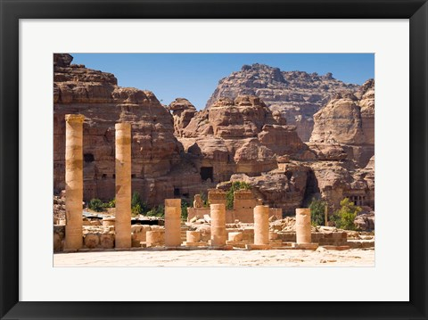 Framed Great Temple, Petra, UNESCO Heritage Site, Jordan Print