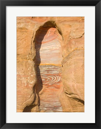 Framed Rock texture of cave wall, Petra, Jordan Print