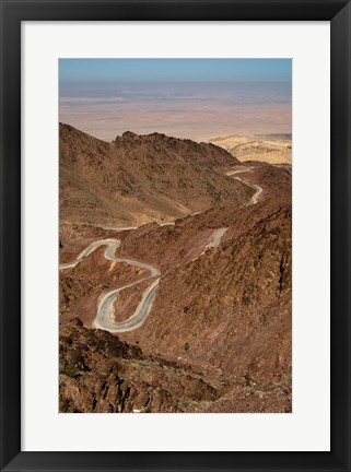 Framed Jordan, Winding highway from Wadi Musa to Wadi Araba Print