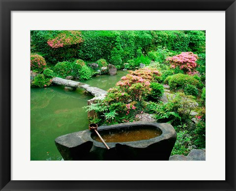 Framed Green Zen Garden, Kyoto, Japan Print