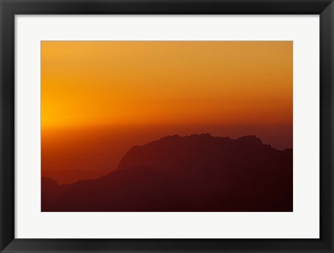 Framed Sunset on Petra Valley, Jordan Print