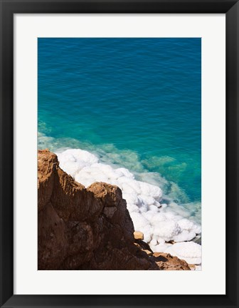 Framed Deposit of salt and gypsum by the cliff in Dead Sea, Jordan Print