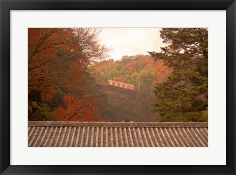 Framed Fall Color around Cable Train Railway, Kyoto, Japan Print