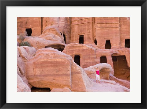 Framed Tourist with Uneishu Tomb, Petra, Jordan Print