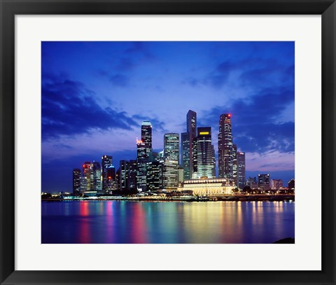 Framed Singapore Skyline at Night Print