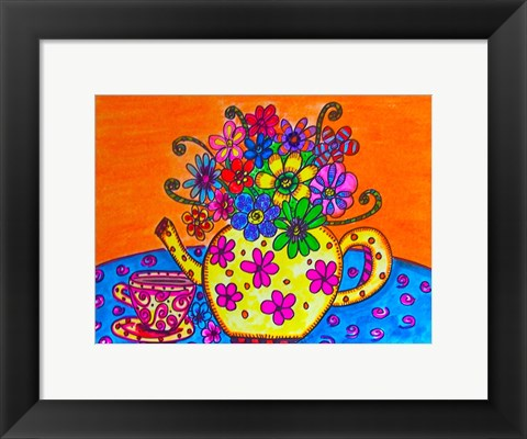 Framed Tea Pot Of Flowers Print