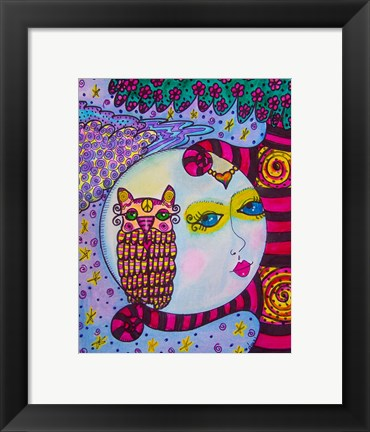 Framed Owl and The Moon Print