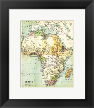 Framed Map of Africa 1885 Print
