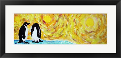 Framed Starry Night Penguin I Print