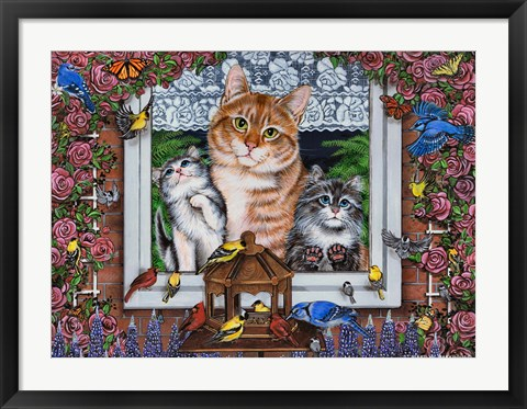 Framed Window Kitties Horizontal Print