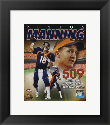 Framed Peyton Manning NFL All-Time leader in career Touchdown Passes 509 Print