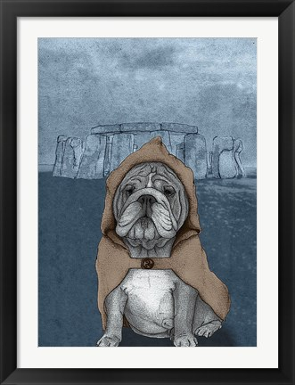 Framed English Bulldog with Stonehenge Print