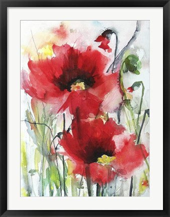 Framed Red Poppies Print