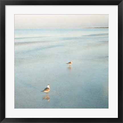 Framed Two Birds on Beach Print