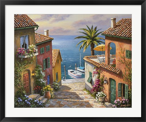 Framed Villas Private Dock Print