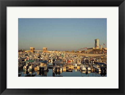 Framed Kuwait, Kuwait City, yacht boats in pleasure port Print