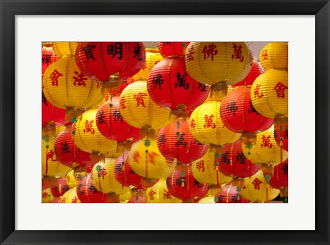 Framed Red and yellow Chinese lanterns hung for New Years, Kek Lok Si Temple, Island of Penang, Malaysia Print
