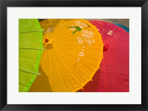 Framed Birghtly Colored Parasols, Bulguksa Temple, Gyeongju, South Korea Print