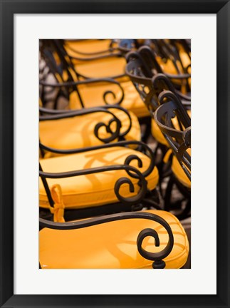 Framed Jordan, Aqaba, cafe chairs Print