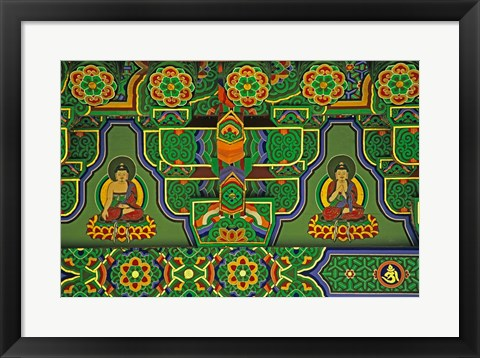 Framed Detail of Wall Mural at a Buddhist Temple, Taegu, South Korea Print