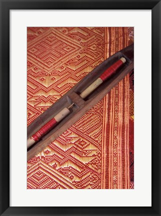 Framed Weaving Shuttle with Colorful Fabric, Luang Prabang, Laos Print