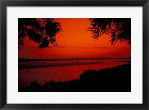 Framed Sunset on Mekong River and Boats, Laos Print