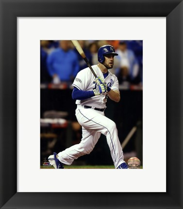 Framed Mike Moustakas Game 6 of the 2014 World Series Action Print