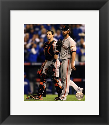 Framed Buster Posey & Madison Bumgarner Game 7 of the 2014 World Series Print