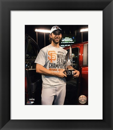 Framed Madison Bumgarner with the MVP Trophy Game 7 of the 2014 World Series Print