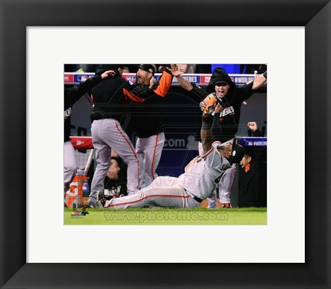 Framed Pablo Sandoval Celebrates the final out Game 7 of the 2014 World Series Print