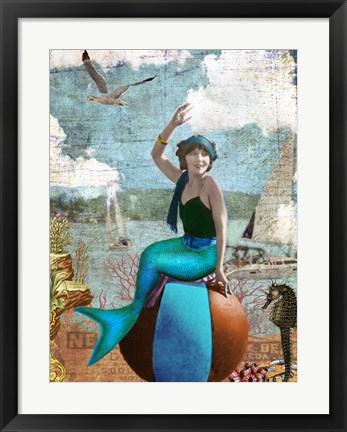 Framed Beach Mermaid Print