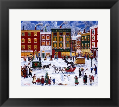 Framed Christmas On Main Street Print
