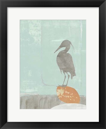 Framed Heron Collage I Print