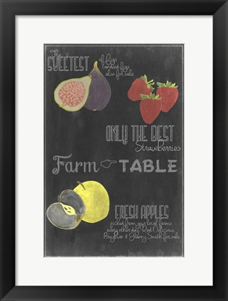 Framed Blackboard Fruit III Print