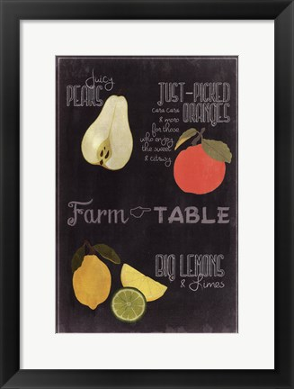 Framed Blackboard Fruit IV Print