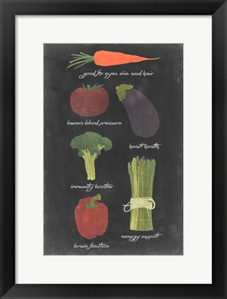 Framed Blackboard Veggies I Print