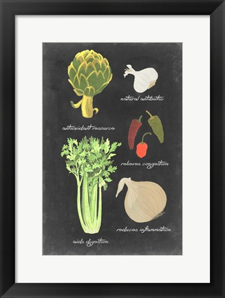 Framed Blackboard Veggies II Print