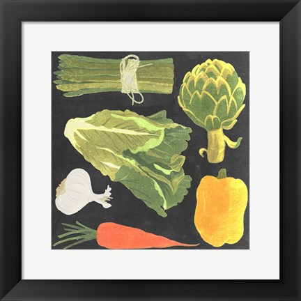 Framed Blackboard Veggies IV Print