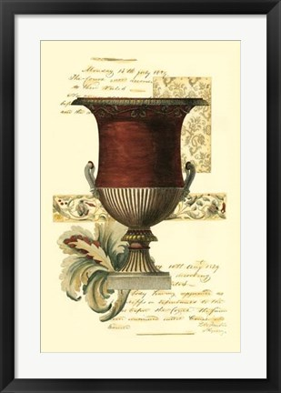 Framed Transitional Urn I Print
