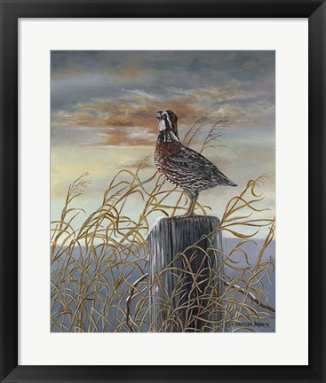 Framed Quail on a Post Print