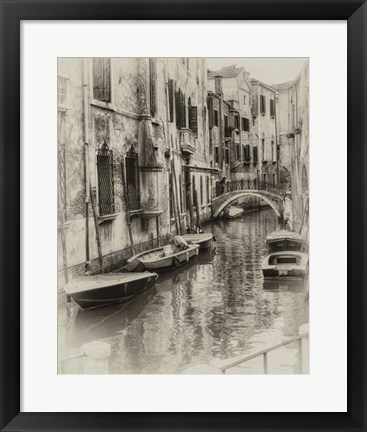 Framed Six Boats Sepia Print