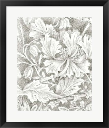 Framed Floral Pattern Sketch I Print