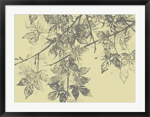 Framed Grey Leaves II Print