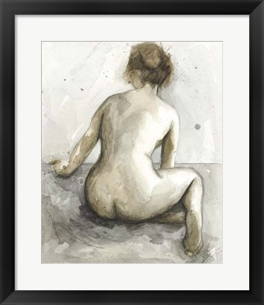 Framed Figure in Watercolor I Print